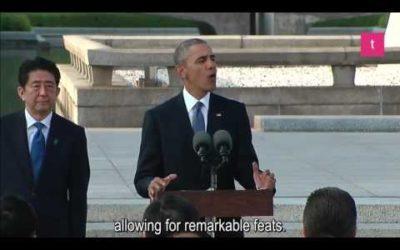 【TOEICリスニング対策】オバマ大統領による広島でのスピーチ(英語字幕)